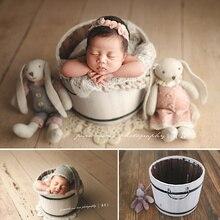 Recién Nacido bebé foto apoyos blanco Vintage de madera maciza cubo contenedor caja accesorio bebé sesión de fotos cesta para posar accesorio para bebé silla