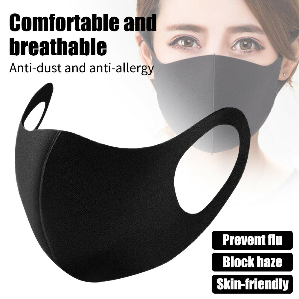 1Pc 2020 Washable Earloop Mask 3D Ice Silk Cotton Cycling Washable Anti Dust Filter Mouth Face Mask Care Respirator Fast Dlivery