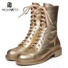 Sapatos femininos com saltos grossos e sapatos de renda 2019 novas botas de locomotiva de couro mid-barrel botas de tornozelo plano rebite