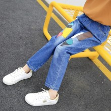 Jeans spring 2019 new spring and autumn children's trousers pants large patch loose fashion недорого