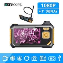 Antscope 1080P HD 8 мм промышленный эндоскоп 4,3 дюймов Авто Ремонт Инспекционная камера эндоскоп литиевая батарея змея твердая камера 19