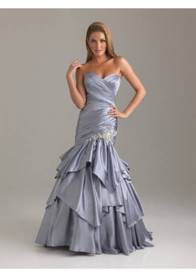 Vestido Silvery Satin Mermaid Prom Gown Custom Sweetheart Lace Appliques Fishtail Pleat Evening Mother Of The Bride Dresses