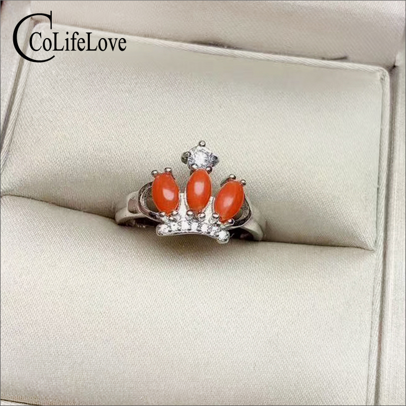 CoLife Jewelry 925 Silver Red Coral Ring Silver Crown Ring with Coral 3 Pieces Natural Italian Red Coral Jewelry Gemstone Ring