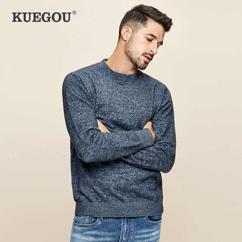 KUEGOU 2020 봄 뉴 플레인 블루 스웨터 남성 풀오버 캐주얼 슬림 점퍼 남성 의류 브랜드 니트 한국 스타일 의류 12769