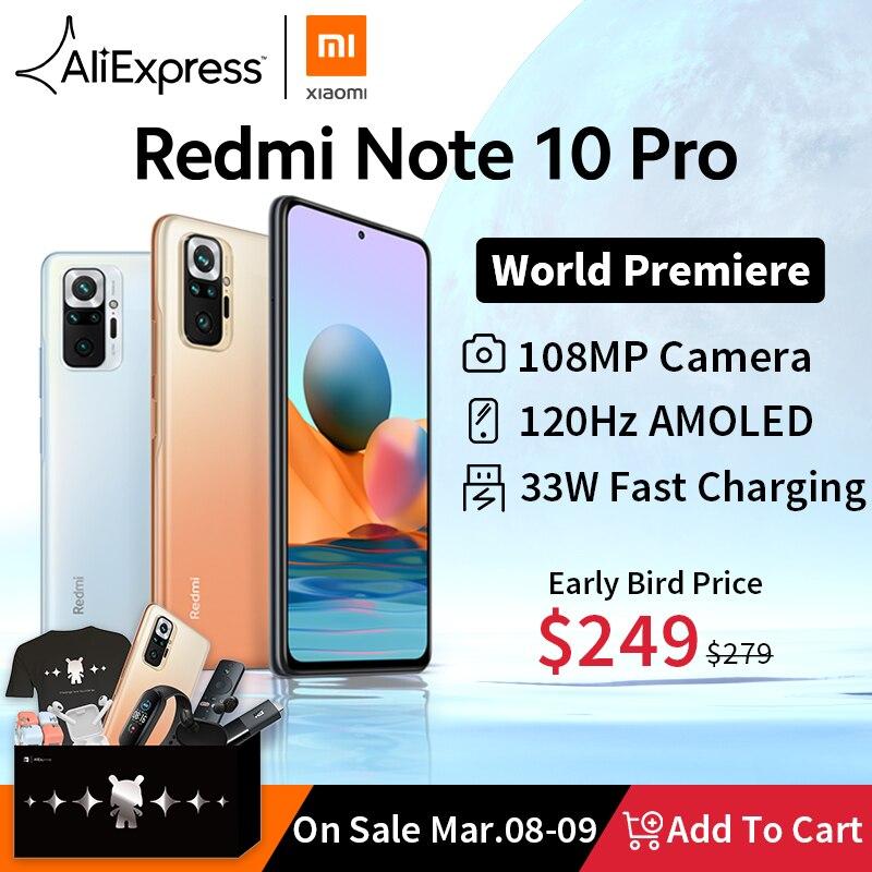 [עולם בכורה במלאי] גלובלי גרסת Xiaomi Redmi הערה 10 פרו Smartphone 108MP מצלמה Snapdragon 732G 120hz AMOLED תצוגה|טלפונים ניידים| - AliExpress