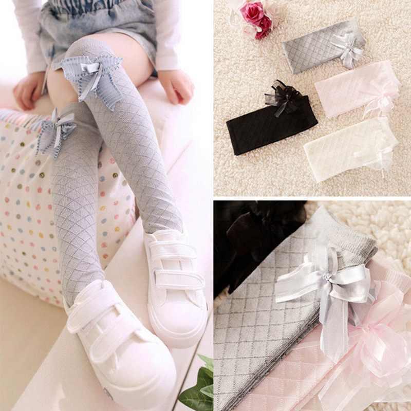 Niños Niñas hasta la rodilla calcetines para niños bebé niñas sólido Lazo de algodón vestido de princesa Ballet Calcetines largos Calcetines