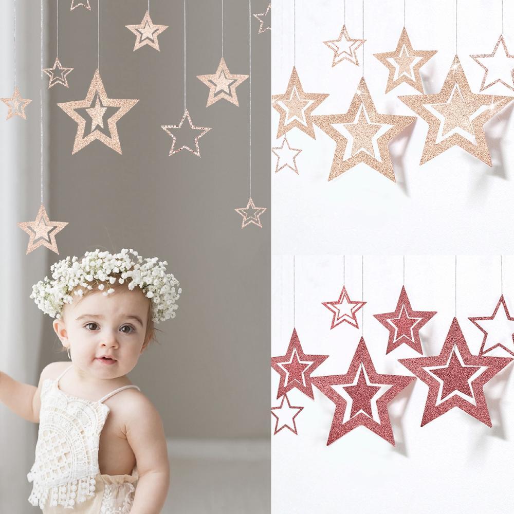 Купить с кэшбэком PATIMATE Rose Gold Star Paper Garlands 1st Birthday Banner Boy Girl Happy Birthday Party Decor Kids One Year Bunting Baby Shower