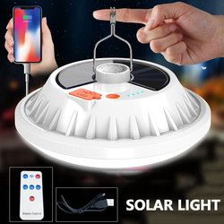 USB Rechargeable LED Bulb Lamp Remote Control Solar Charge Lantern Portable Emergency Night Market Light Outdoor Camping Home