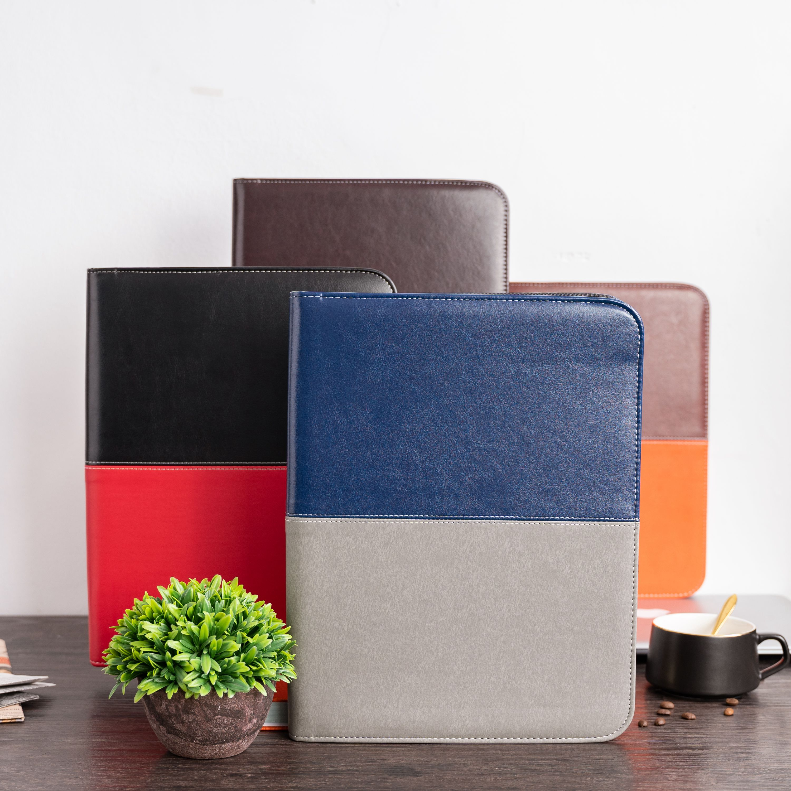 A4 Document Folder Padfolio PU Leather With Calculator Zipped  Business Office School Supply Stationery File Folder