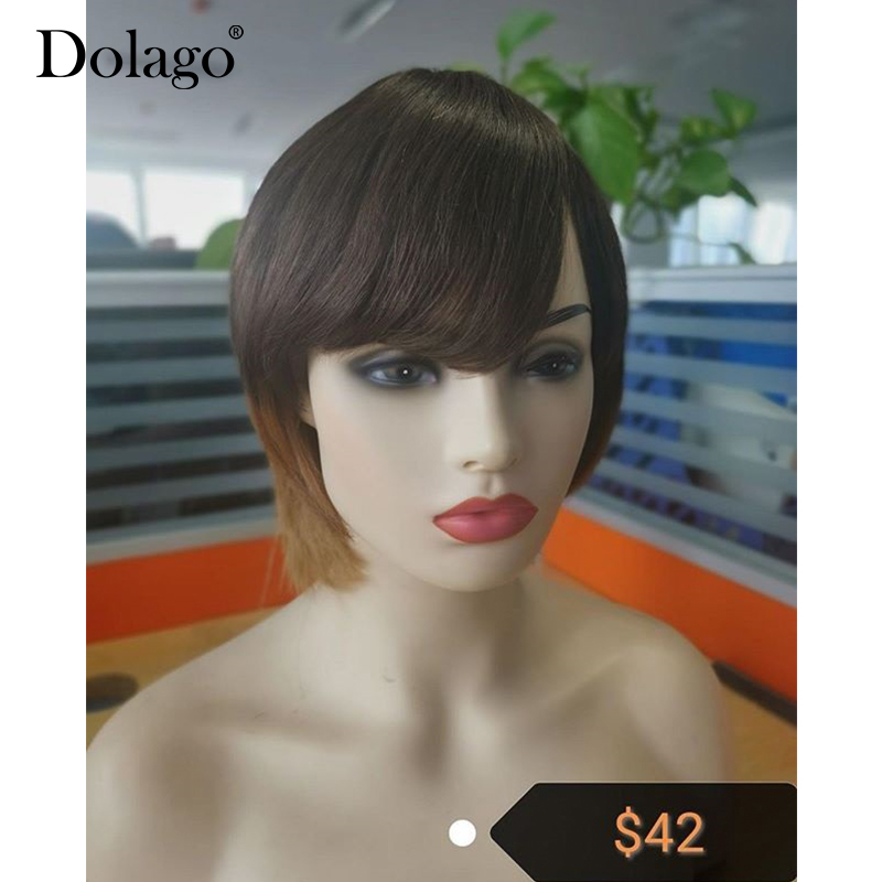 Three Tones #4/30/27 Ombre Colorful Human Hair Wig Easy To Wear And Style Colored Breathability Full Machine Wig