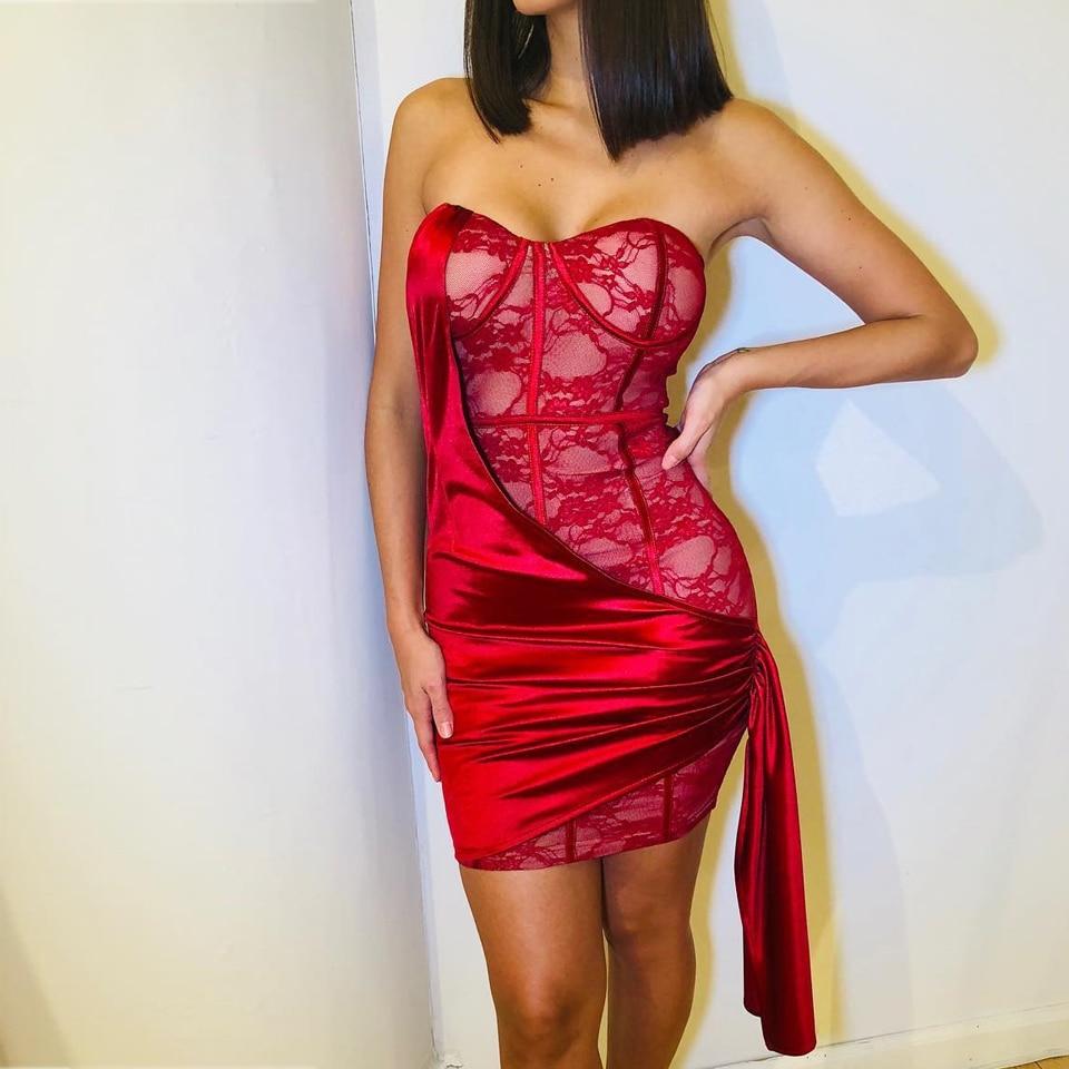 JillPeri Women Sexy Strapless Birthday Party Dress Fashion Lace Satin  Patchwork Red Valentine's Day Outfit Celebrity Mini Dress