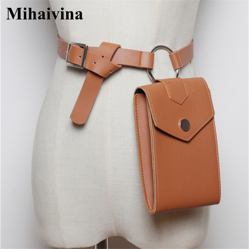 Mihaivin Leather Waist Bag Women Fanny Pack Black Belt Bag Serpentine Waist Pack Phone Bag Shoulder Bum Bags Womens Hip Pack
