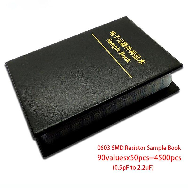 0603 Япония muRata SMD конденсатор с алюминиевой крышкой, книга с образцами набор сортированных 90valuesx50pcs = 4500 шт (0.5pF до 2,2 мкФ)