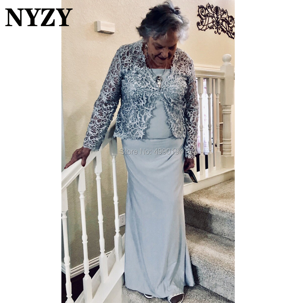 Stretch Jersey 2 Piece Silver Mother Of The Bride Groom Dresses With Lace Jacket NYZY M254 Evening Formal Dress 2020