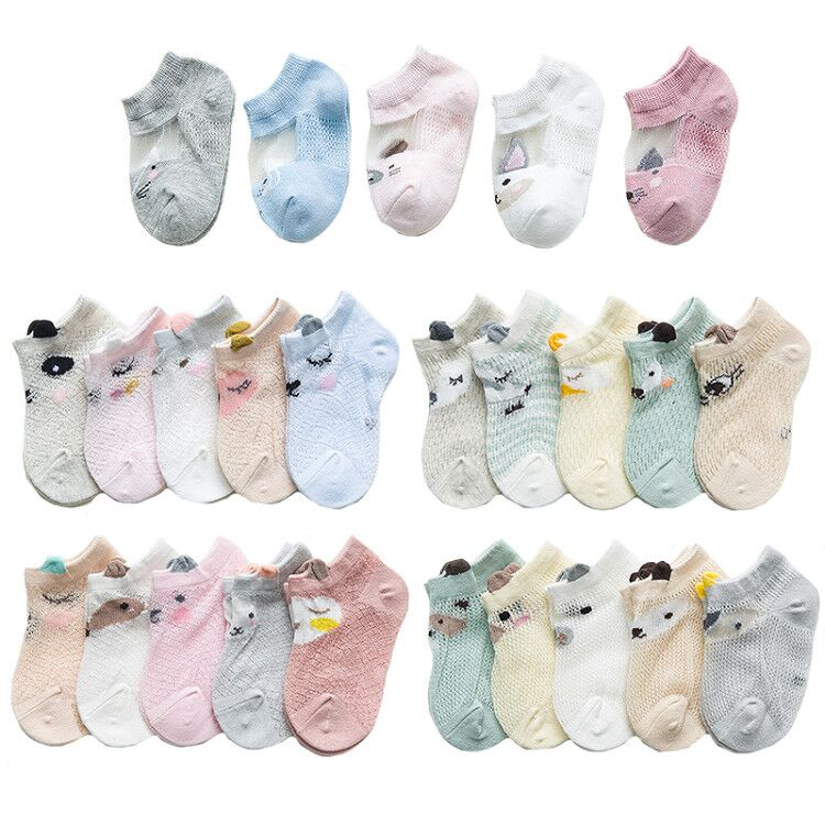 5 Pairs/lot 0 To 7 Years Spring Summer Thin Mesh Socks For Girls Boys Cute Animal Children's Thin Sock Baby Newborn Short Socks