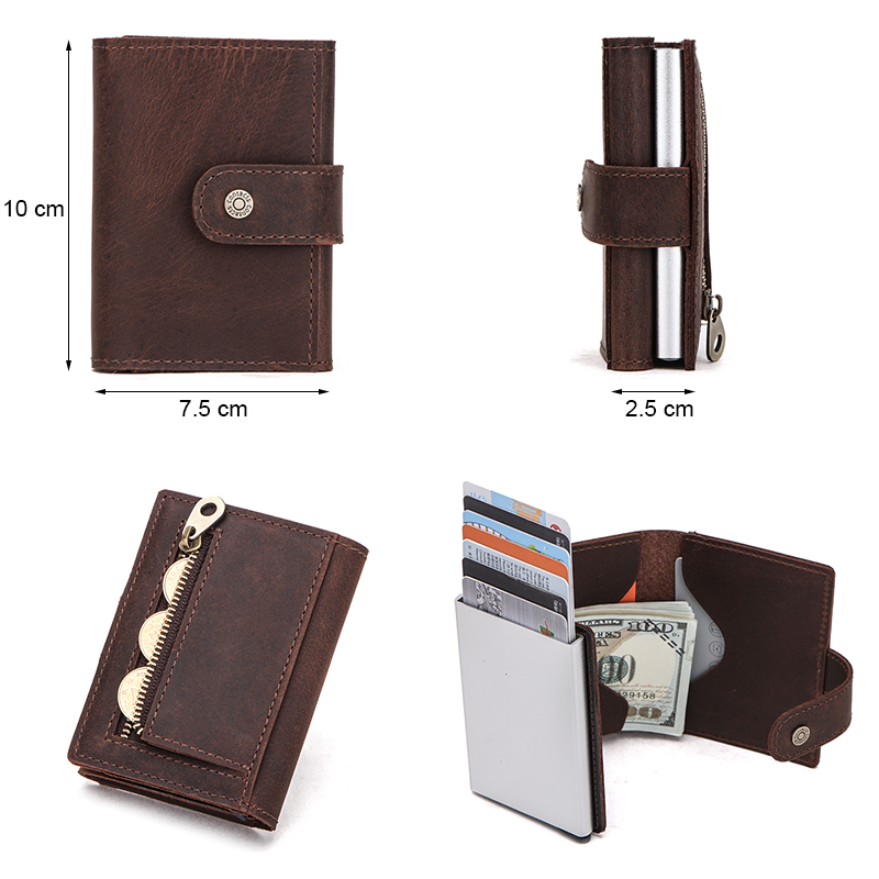 Image 3 - Contacts Men Card Case Business ID Card Holders Crazy Horse Leather Men Wallets Rfid Credit Card Holder Aluminium Box CustomizeCard & ID Holders   -