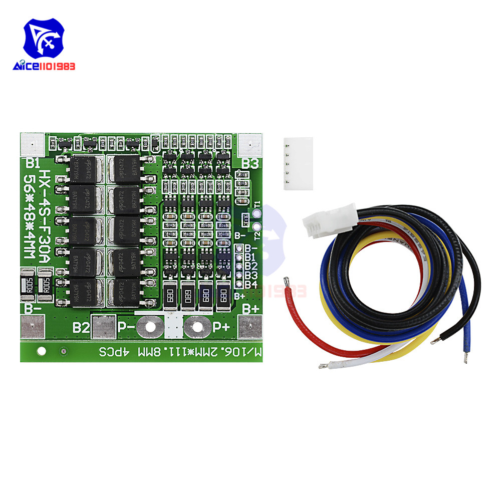 diymore 4S 30A 14.8V Li-ion Lithium 18650 Battery BMS Protection Board Module Balance Integrated Circuits with Wire image