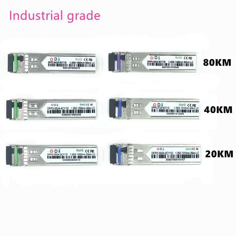 LC SFP Fiber Optic Module Industrial Grade -40~+80 Celsius 1.25G20/40/80KM 1310/1490/1550nm Single-SFP Compatible Optical Module