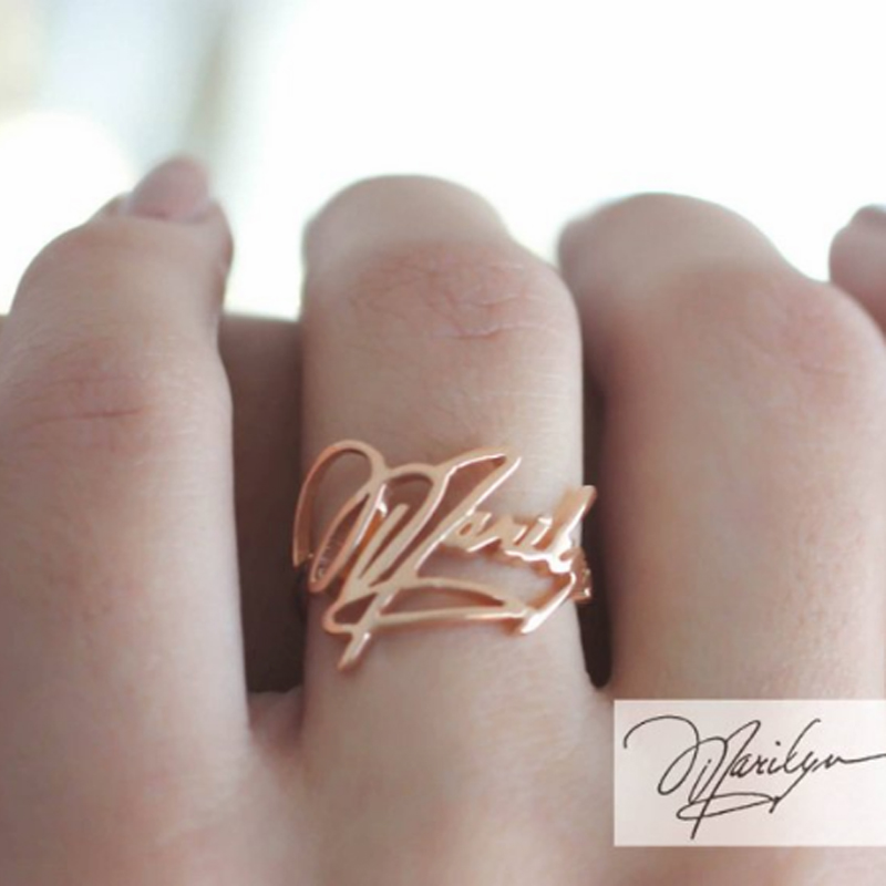 Handmade Personalized Custom Handwritten Name Picture Men Rings For Women Rose Gold Stainless Steel Adjustable Popular Gifts