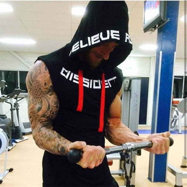 Muscle men Brand Gyms Clothing Fitness Men Tank Top hooded Mens Bodybuilding Stringer Tanktop workout Singlet Sleeveless Shirt