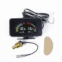 12V/24V Car LCD Water Temperature Meter Thermometer Voltmeter Gauge 2in1 Sensor