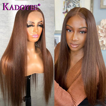 Brown Straight Wig 4x4 Lace Closure Wig Honey Brown Colored Human Hair Brazilian 13x1 Part Lace Wigs For Women Pre Plucked Remy