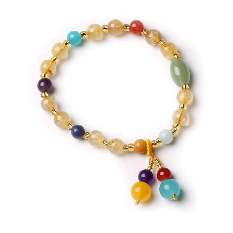 Accessories Brazil natural  golden hair crystal bracelet female retro agate wholesale