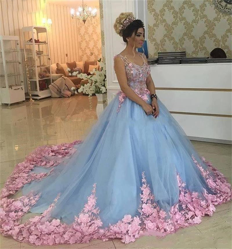 Sweet 16 Dresses 2020 Ball Gown Light Sky Blue Quinceanera Dresses Pink 3D Flowers Appliques V-Neck Spaghetti Straps Sleeveless