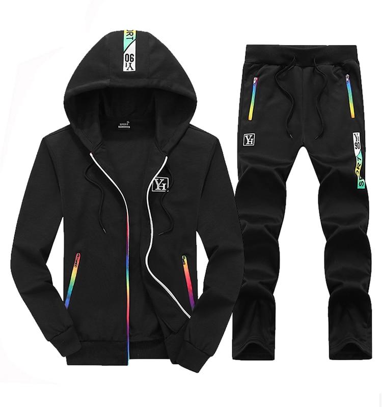 2020 Tracksuits Men Patchwork Hooded Hoodies Zipper Sportwear Male Sweatshirts Cardigan 2 Pieces Sets New Brand Autumn Spring