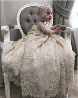 Роскошные белые для крещения, цвета слоновой кости, платье с кружевом и жемчугом на высоком каблуке платье для маленьких девочек платье для ...