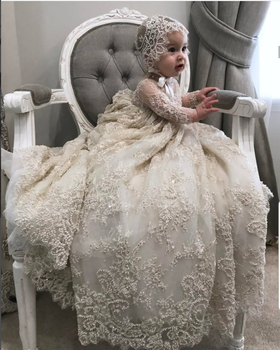 Luxury White Ivory Christening Gown Lace Pearls Baby Girls Baptism Dresses Toddler Infant Christening Dress With bonnet heirloom baptism dress baby girls royal christening gown floor length short sleeve o neck baby girls birthday gown with ribbon
