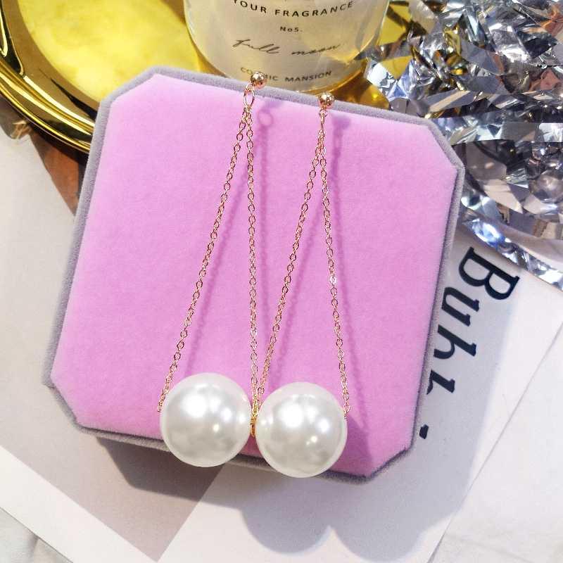 2019 koreański nowe kolczyki z pereł długi wiszący łańcuszek kolczyki okrągłe dynda spadek kolczyki dla kobiet moda biżuteria Aretes De Mujer