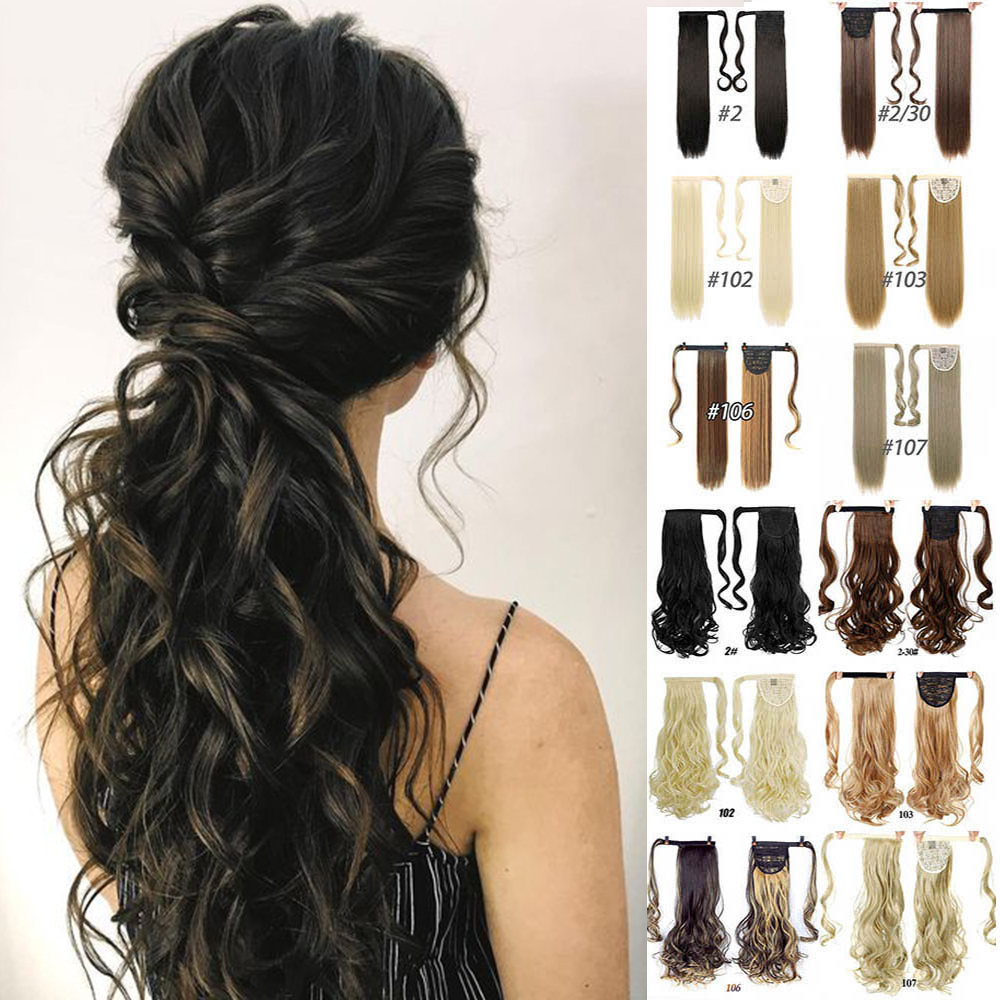 MANWEI 24'' Long Band Ponytail Extension Clip Wig Natural Swing Clip In Curly Hair Extension Ponytail Wig Headwear