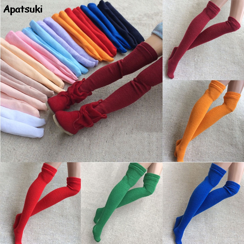 1pair Assorted Color Stocking For Blythe 1:6 Doll Socks For Barbie Thigh High Over The Knee Sock For Momoko Doll Accessories