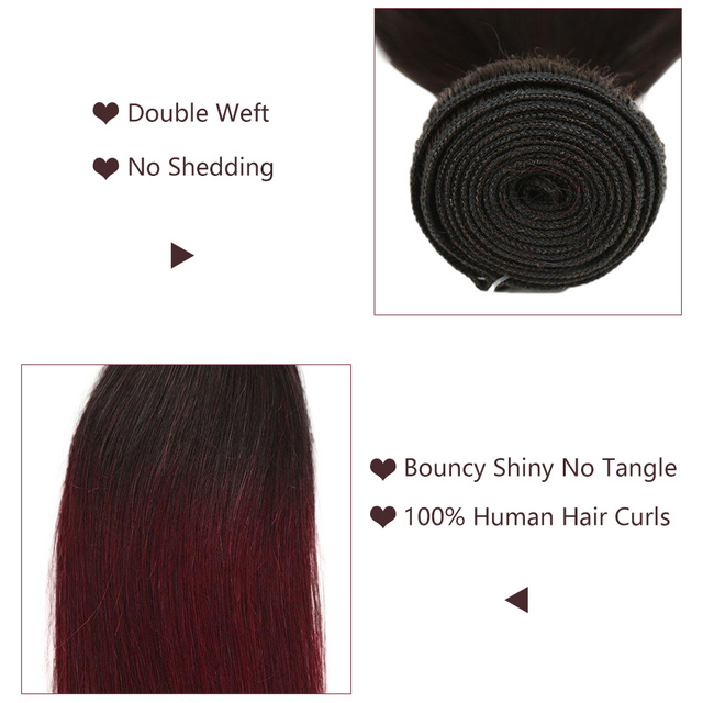 Straight Brazilian Hair Weave Bundles Color #T1B/99J 100% Human Hair Bundles Remy Weft straight 1/3/4 Pieces Hair Extensions 3