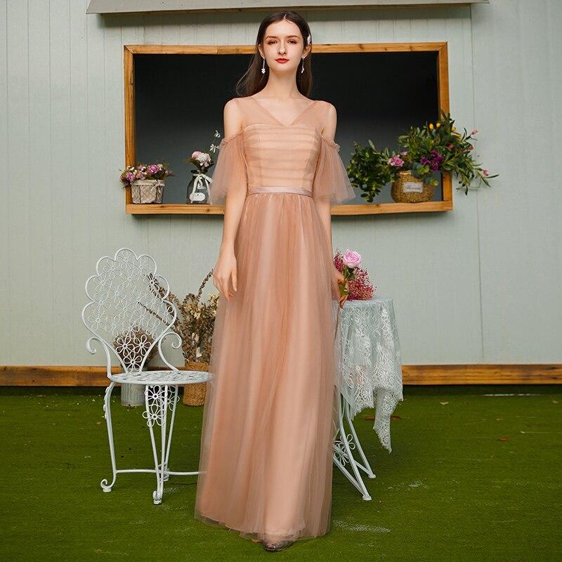 V-neck Sleeveless Bridesmaids Dresses Elegant Vestido Largo Sirena Guest Wedding Party Dress Sexy Prom Special Occasion Dresses