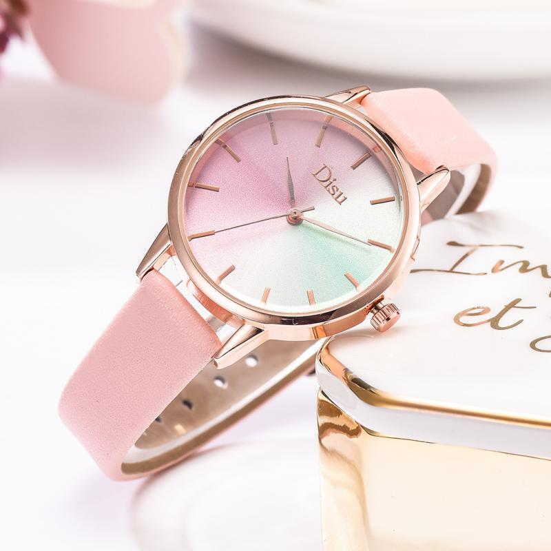 New Quartz Watch Leather Band Ladies Watch Women Watch Fashion Gradient Color Bracelet  Dress Women Watches Girl Gift Reloj Muje