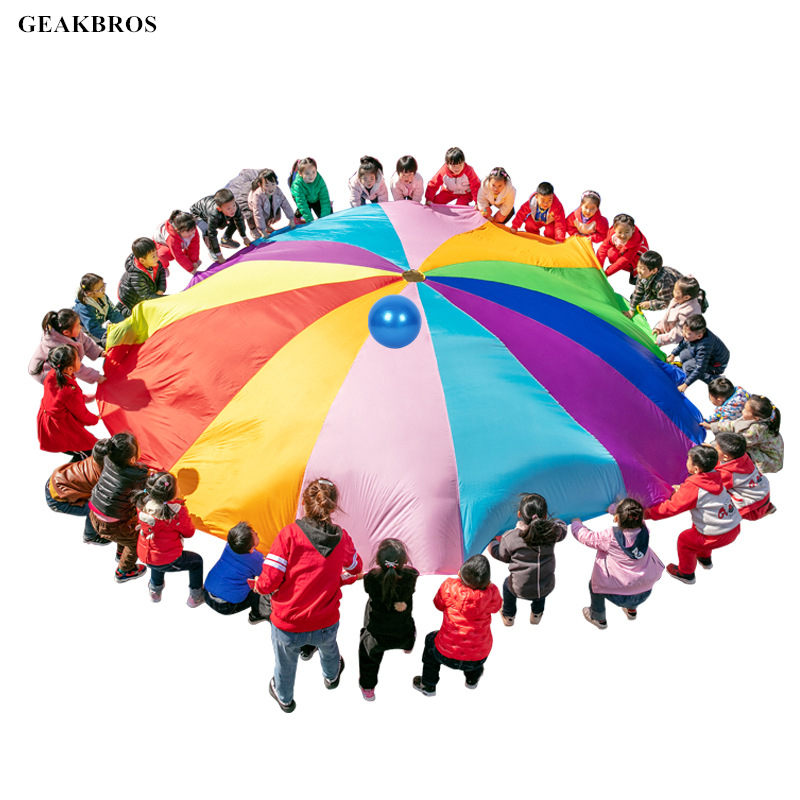 Kids Play Parachute Toy Rainbow Umbrella For Children Outdoor Indoor Play Teamwork Game Sports Exercise Toys Kids Christmas Gift