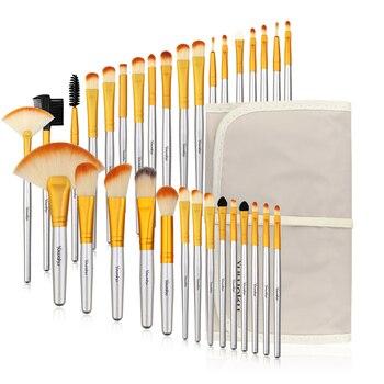 Vander 32Pcs Makeup Brush with Brush Cleaner Foundation Blusher Powder Brushes Bag Case pincel maquiagem Wooden Make Up Brushes недорого