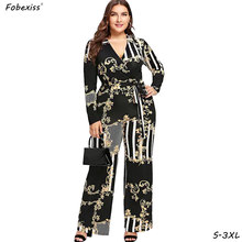 Rompers Womens Jumpsuit Elegant Black Print Floral Overalls For Women Long Sleeve Plus Size 3XL Bandage Sashes Party Jumper(China)