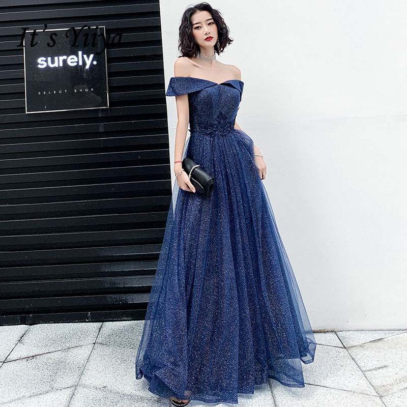 It's Yiiya Evening Dresses Navy Blue Shining Evening Dress Elegant Off Shoulder Formal Gowns Long Appliques Robe De Soiree LF111