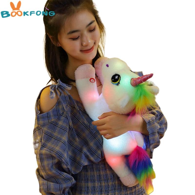 45 см светодиодный игрушечный Единорог, плюшевые игрушки, светильник, светящийся Единорог, мягкие животные, лошадь, игрушка, мягкая кукла, ми...