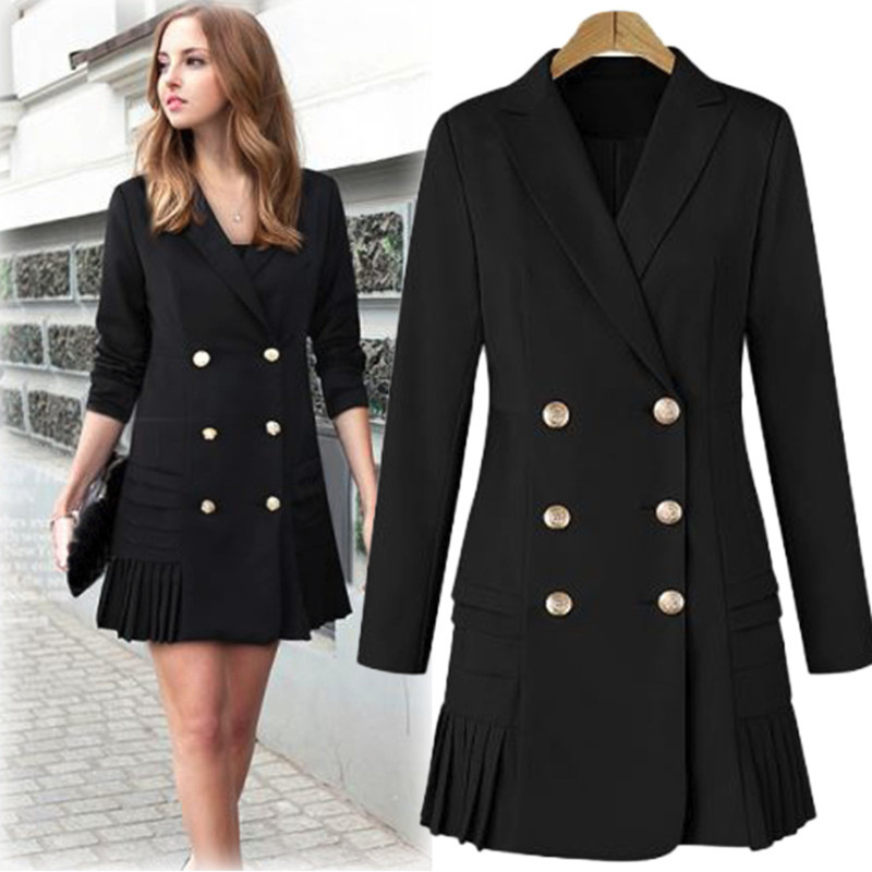 Women Blazers And Jackets 2019 Double Breasted Dress Pink Blazer Ladies Blazer Long Sleeves Casual Outerwear 3XL