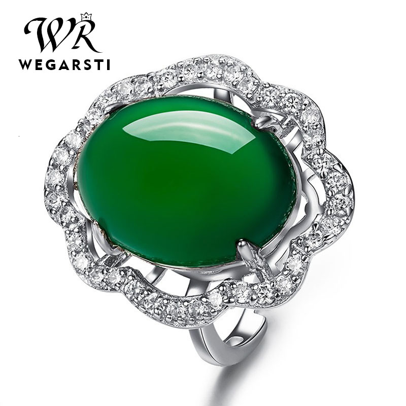 New Fashion Real Sterling Silver 925 Jewelry Emerald Gemstone Rings For Women Female Valentine's Day Accessories