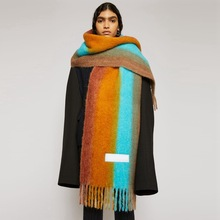 Women Striped Patchwork Cashmere Scarf Winter Thick Soft Long Tassel ac Pashmina Shawls Ladies Girls Brand Warm Scarves