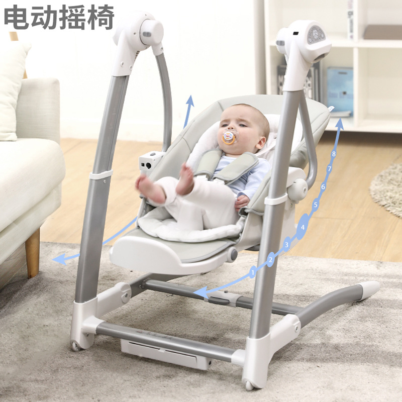 3 In 1 Electric Rocking Chair Dining Chair Multifunctional Children's High Chair Baby Electric Newborn Cradle