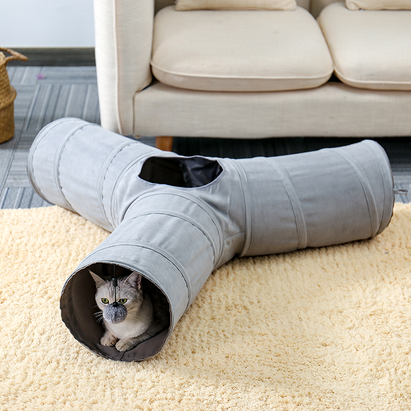 Foldable Pet Cat Tunnel Indoor Outdoor Pet Cat Training Toy for Cat Rabbit Animal Suede pet toys image