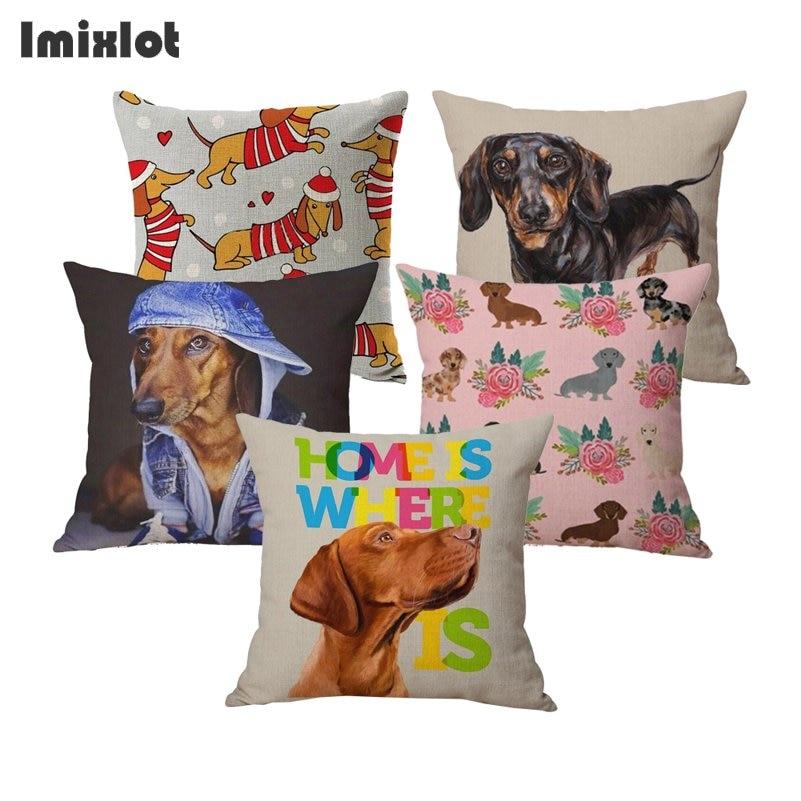 Decorative Dachshund Cotton Linen Throw Car Pillow Case Cover Cushion Home Decor