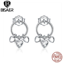 BISAER New Arrival 925 Sterling Silver Original  Round Shape CZ Stud Earrings For Women  Clear Jewelry Gift For Valentine HSE494 bamoer 925 sterling silver daisy flower clear cz stud earrings for women sterling silver jewelry valentine s day gift sce419