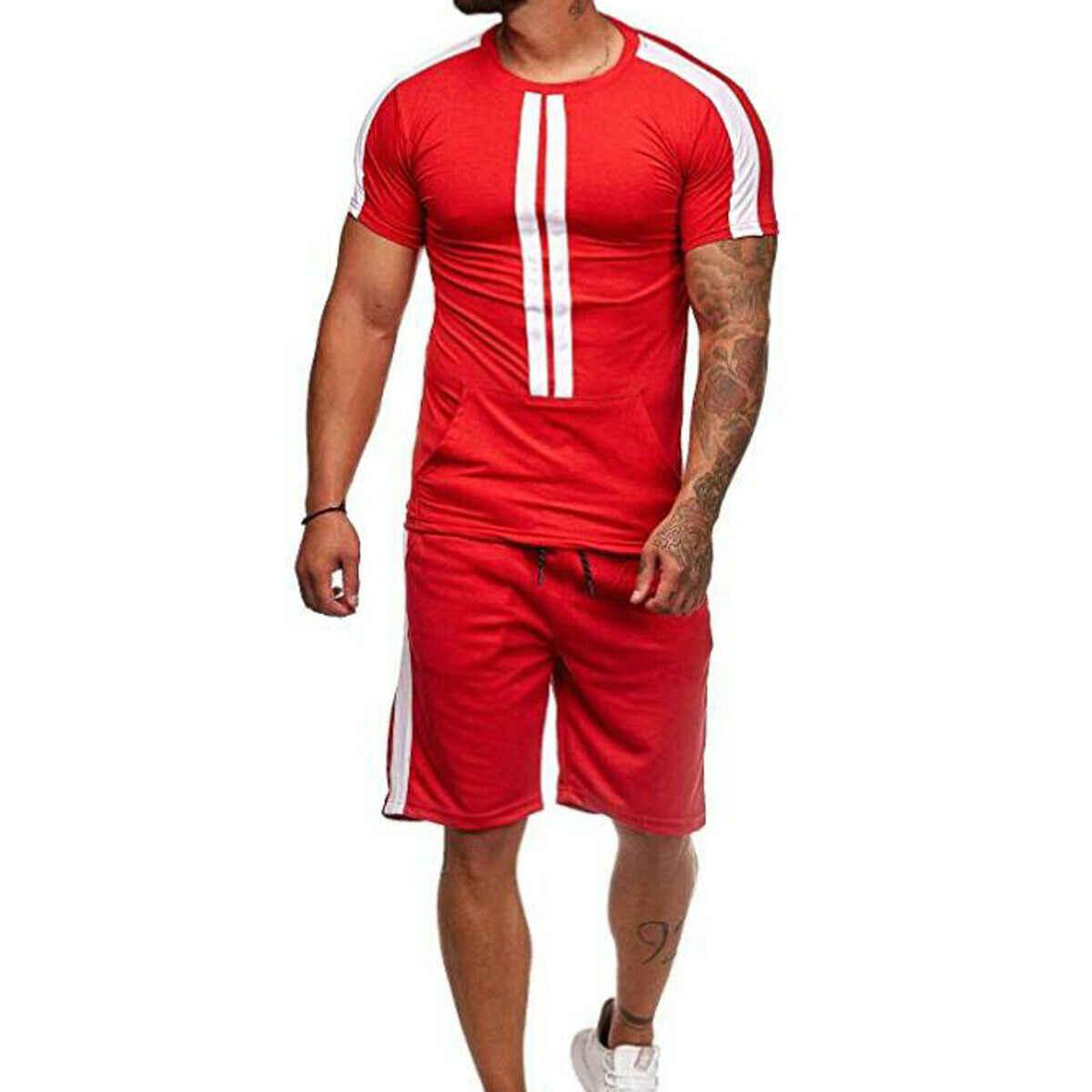 Мужская футболка с коротким рукавом короткие штаны для пробежек спортивный